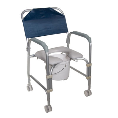 Drive Medical Lightweight Portable Shower Commode Chair with Casters