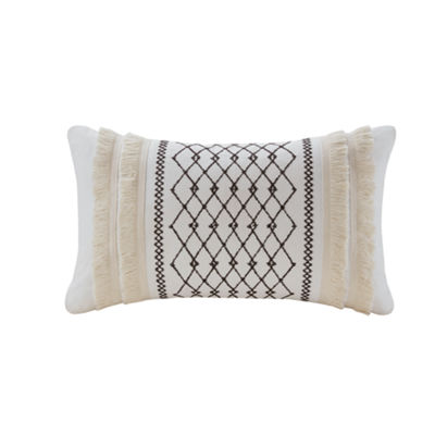 INK + IVY Bea Embroidered Cotton Oblong 12X20 Pillow with Tassels