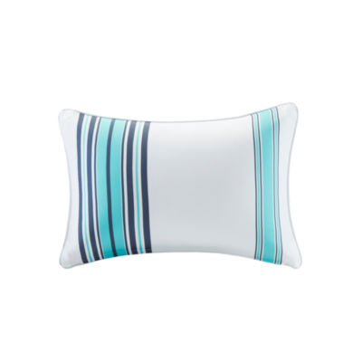 "Madison Park Bolinas Printed Stripe 3M Scotchgard Outdoor Oblong 14X20"" Pillow"