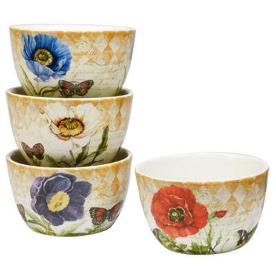 Certified International Poppy Garden 4-pc. Ice Cream Bowl