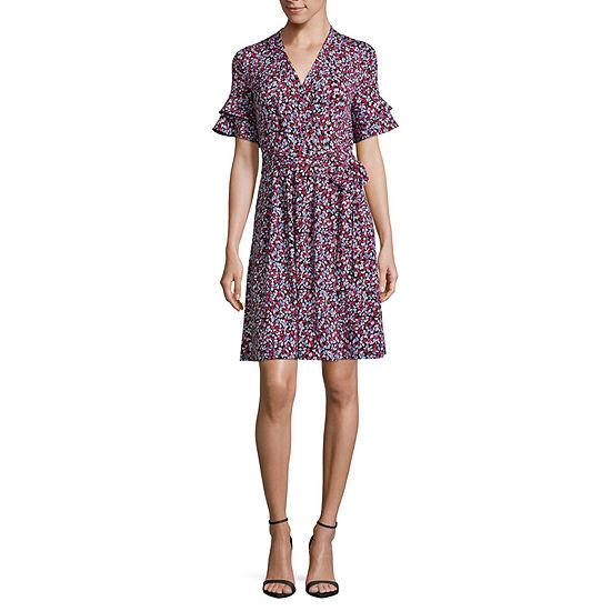 Liz Claiborne Ruffle Sleeve Wrap Knit Dress