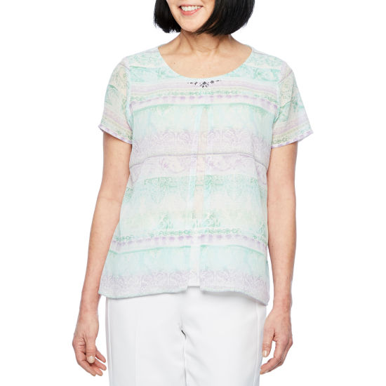 Alfred Dunner Roman Holiday Short Sleeve Collar Neck Knit Blouse