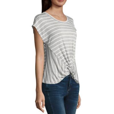 Belle + Sky Short Sleeve Round Neck Stripe T-Shirt-Womens