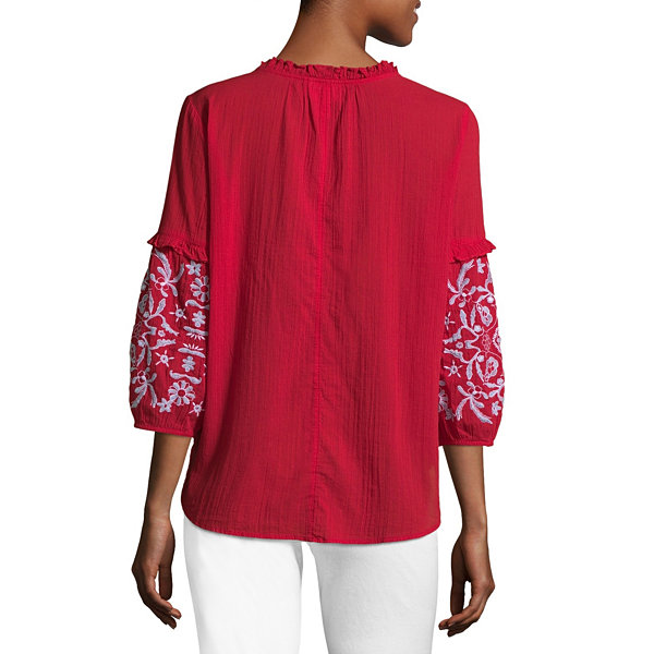 Liz Claiborne 3/4 Sleeve Balloon Sleeve Floral Peasant Top