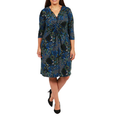 24/7 Comfort Apparel Wrap Dress-Plus