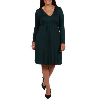 24/7 Comfort Apparel A-Line Dress-Plus
