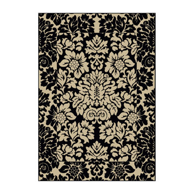Como Damask Traditional Oriental Area Rug