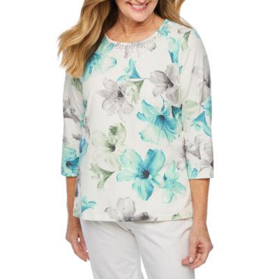 Alfred Dunner Versailles Womens Crew Neck 3/4 Sleeve T-Shirt