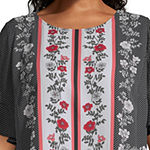 Liz Claiborne Crew Neck Ruffle Sleeve Blouse - Plus