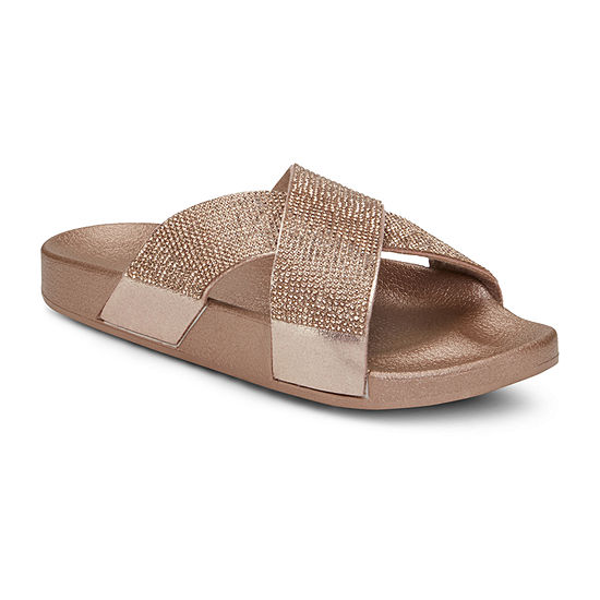 Mixit Womens Mini Bling Cross Slide Sandals