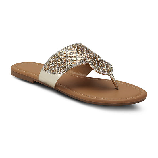 Mixit Womens Bling Diamond Shield Flip-Flops