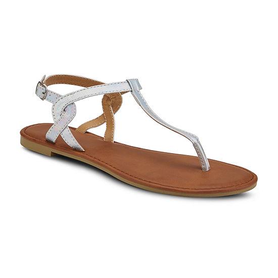 Mixit Womens Irridescent Strap Flat Sandals