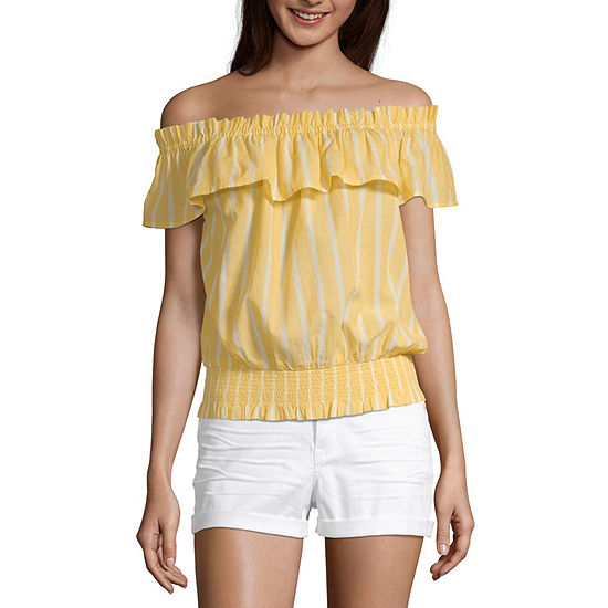 a.n.a Womens Straight Neck Short Sleeve Blouse
