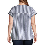 St. John's Bay-Plus Womens Split Crew Neck Short Sleeve Dobby Blouse
