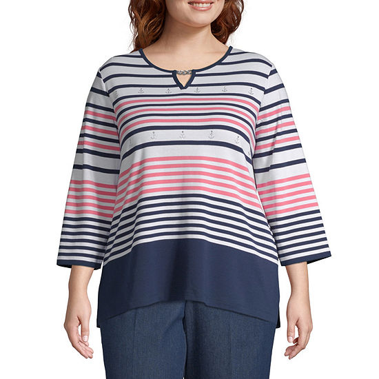Smooth Sailing Alfred Dunner Engineered Stripe Top - Plus