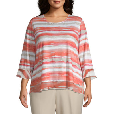 Martinique Alfred Dunner Watercolor Stripe Top - Plus