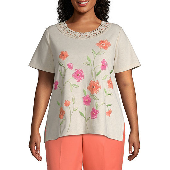 Martinique Alfred Dunner Crochet Neck Floral Top - Plus