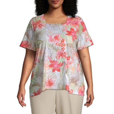 Martinique Alfred Dunner Etched Tropical Top - Plus