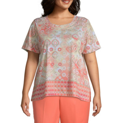 Martinique Alfred Dunner Medallion Border Top - Plus