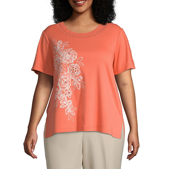 Martinique Alfred Dunner Applique Flower Top - Plus