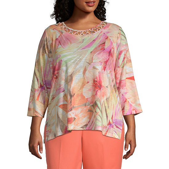 Martinique Alfred Dunner Tropical Leaves Top - Plus