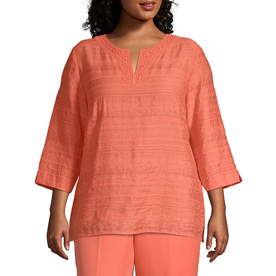 Martinitque Alfred Dunner Lace Neck Tunic - Plus