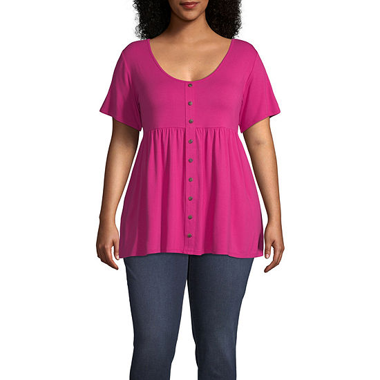 a.n.a Womens Scoop Neck Short Sleeve Babydoll Top-Plus