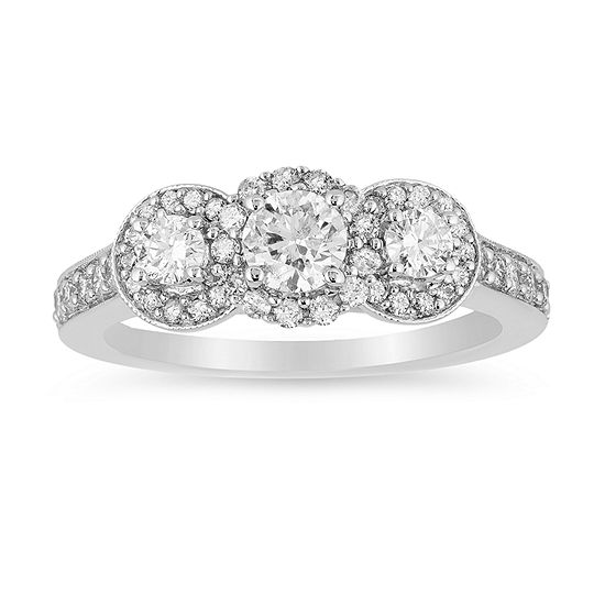 LIMITED QUANTITIES! Womens 1 CT. T.W. Genuine White Diamond 14K White Gold Engagement Ring
