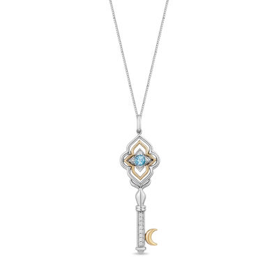 Enchanted Disney Fine Jewelry Womens Diamond Accent Genuine Blue Topaz Aladdin Pendant Necklace