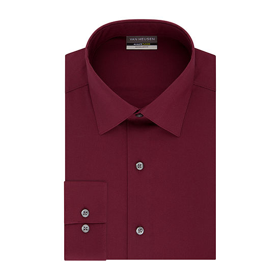 Van Heusen Always Tucked With Stretch Regular Fit Mens Point Collar Long Sleeve Wrinkle Free Stretch Dress Shirt