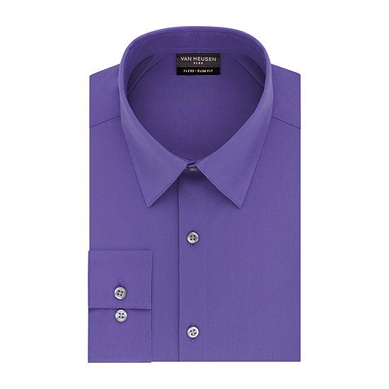 Van Heusen Mens Point Collar Long Sleeve Stretch Dress Shirt - Fitted