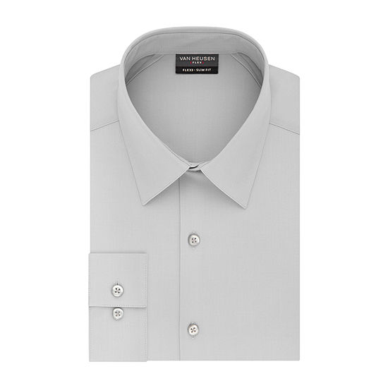 Van Heusen Mens Point Collar Long Sleeve Stretch Dress Shirt - Fitted