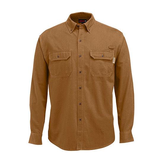 Wolverine Mens Long Sleeve Moisture Wicking Button-Front Shirt