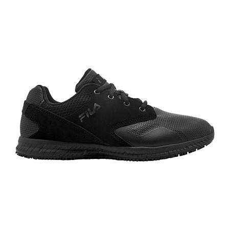 Fila Memory Layers Slip Resistant Mens Sneakers Wide Width, 9 Wide, Black