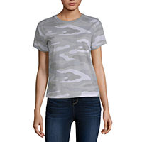 Arizona Womens Juniors Crew Neck Short Sleeve T-Shirt Deals