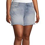 "Arizona Womens 4 1/2"" Denim Short-Juniors Plus"