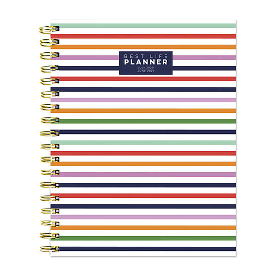 """Tf Publishing July 2020 - June 2021 Preppy Stripe Best Life 7"""" X 9"""" Daily Weekly Monthly Luxe Planner"""