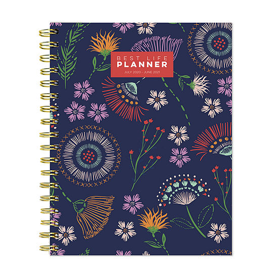 """Tf Publishing July 2020 - June 2021 Floral Stitches Best Life 7"""" X 9"""" Daily Weekly Monthly Luxe Planner"""