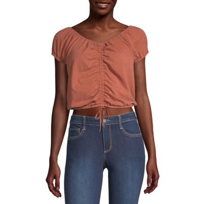 Arizona-Juniors Womens Scoop Neck Short Sleeve Blouse