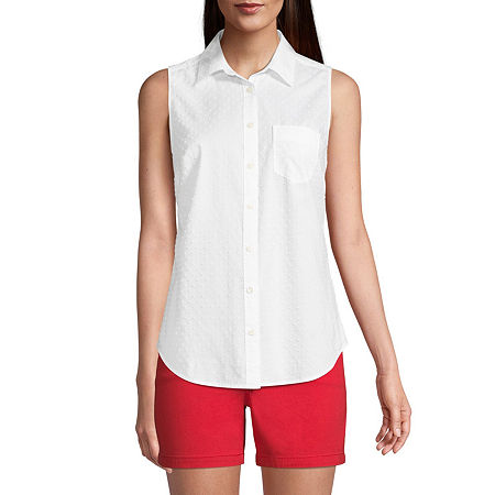 St. John's Bay Womens Sleeveless Regular Fit Button-Down Shirt, Petite Medium , White