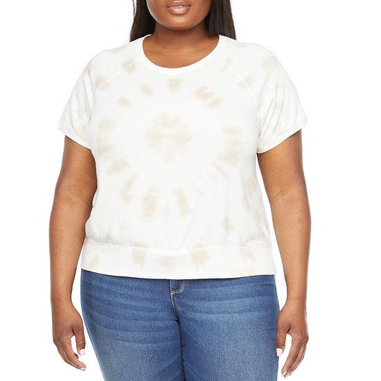 a.n.a Plus Womens Round Neck Short Sleeve Sweatshirt