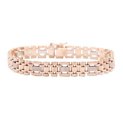 Mens 14K Two-Tone Gold Link Bracelet