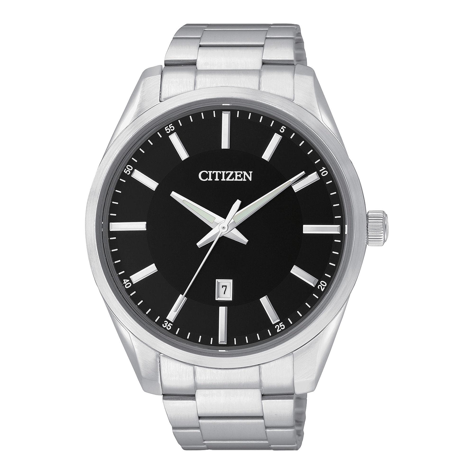 Citizen Mens Black Dial Stainless Steel Watch BI1030-53E