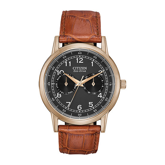 Citizen Corso Mens Brown Leather Strap Watch-Ao9003-08e