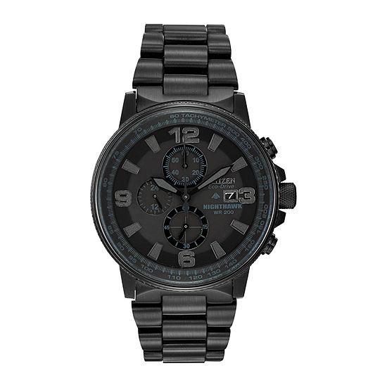 Citizen Nighthawk Mens Chronograph Black Stainless Steel Bracelet Watch-Ca0295-58e