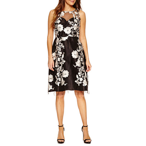 Studio 1 Sleeveless Embellished Floral Fit & Flare Dress-Petites