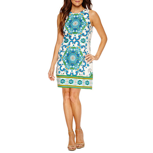 London Style Sleeveless Shift Dress-Petites