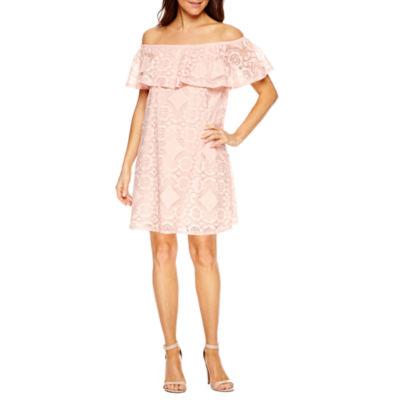 Tiana B Short Sleeve A-Line Dress-Petite