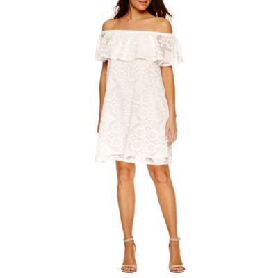 Tiana B Short Sleeve A-Line Dress-Petites