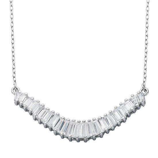 DiamonArt® Sterling Silver Baguette Cubic Zironcia Circle Pendant Necklace